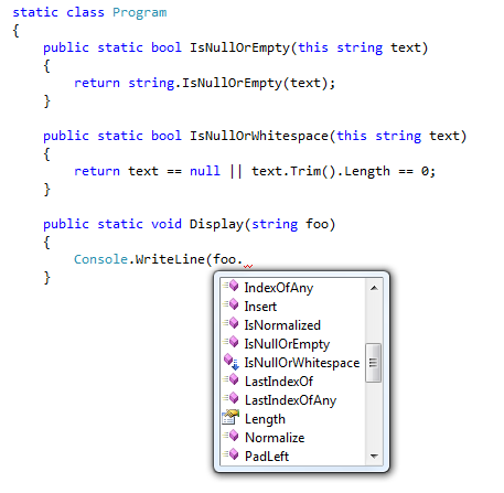 Intellisense bug around extension methods in VS2008